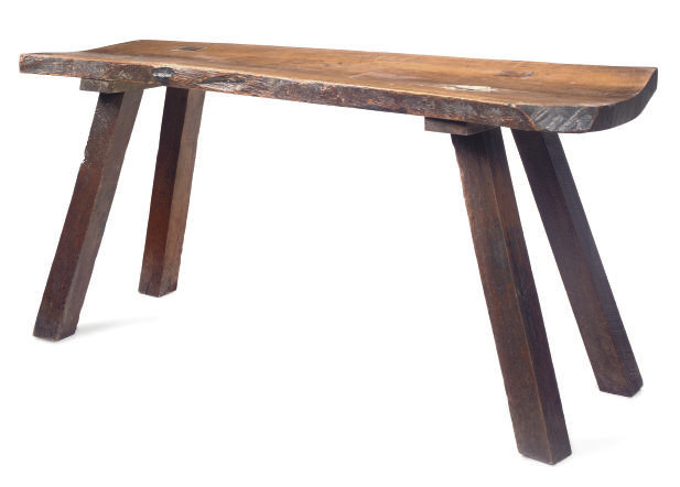 A RUSTIC OAK SERVING-TABLE