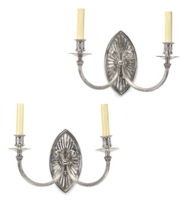 A PAIR OF SILVER-PLATED BRASS
