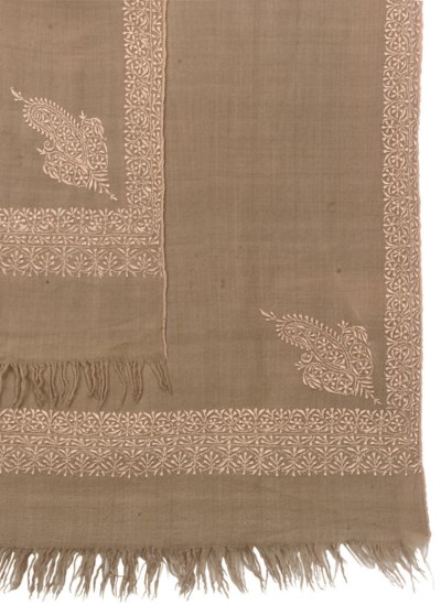 A FAWN EMBROIDERED PASHMINA SH