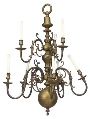 A DUTCH BRASS TEN-LIGHT CHANDE