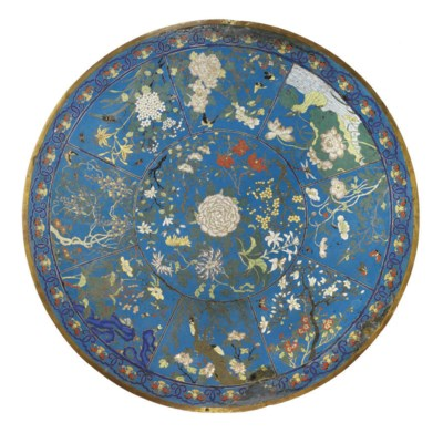 A CHINESE LARGE CLOISONNE PLAQ