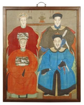 THREE CHINESE ANCESTOR PAINTIN