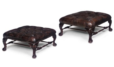 A PAIR OF LARGE BROWN LEATHER