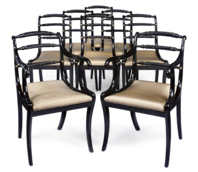 A SET OF EIGHT REGENCY EBONISE