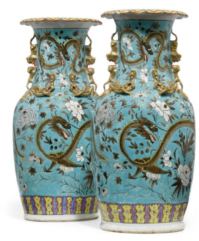 A PAIR OF CHINESE TURQUOISE GR