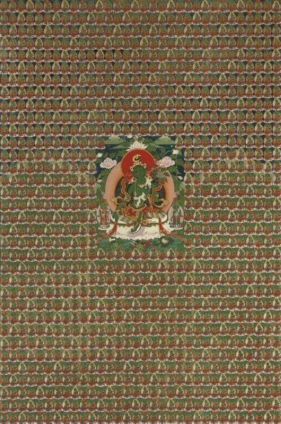 A TIBETAN THANGKA OF GREEN TAR