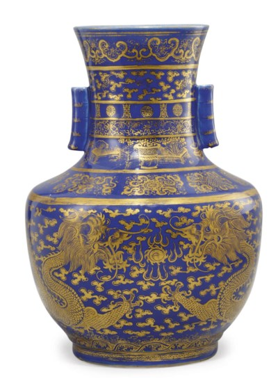 A CHINESE POWDER BLUE AND GILT
