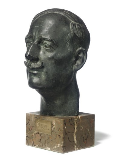 A BRONZE BUST OF KING ZOG OF A