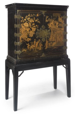 A BLACK-PAINTED CABINET-ON-STA