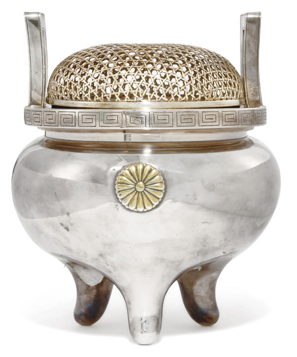 A JAPANESE SILVER KORO, SIGNED