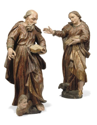 A PAIR OF GERMAN SOFT-WOOD AND