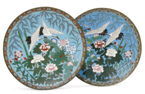 A PAIR OF JAPANESE CLOISONNE L