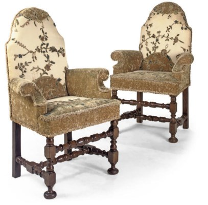 A PAIR OF FRENCH OAK AND UPHOL