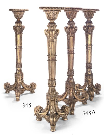 A PAIR OF GILTWOOD TORCHERES