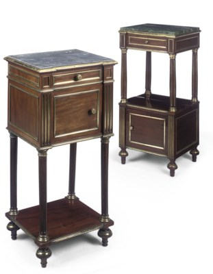 TWO FRENCH MAHOGANY GILT-METAL