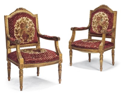 A PAIR OF FRENCH GILTWOOD ARMC