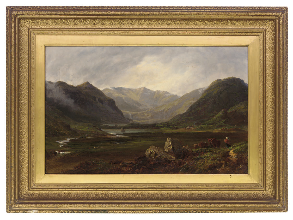 A figure and cattle in an extensive Highland landscape