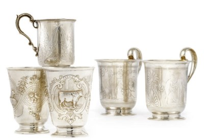 A PAIR OF TWO VICTORIAN SILVER