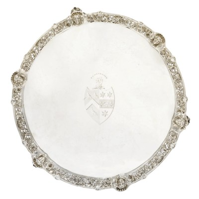 A GEORGE III SILVER SALVER WIT
