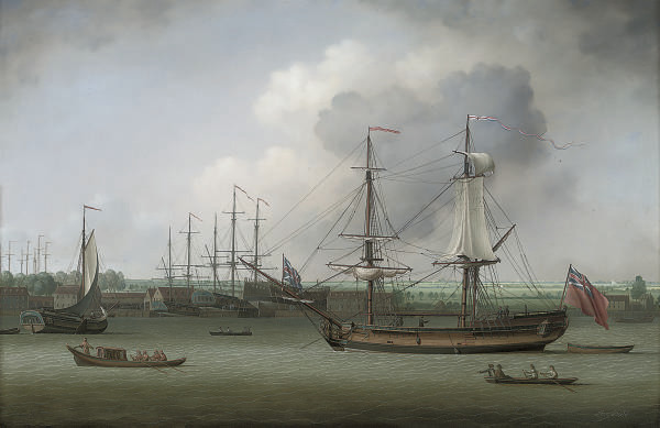 A Royal Naval dockyard on the Thames, with men-o'war on the stocks and a snow lying at anchor in the foreground
