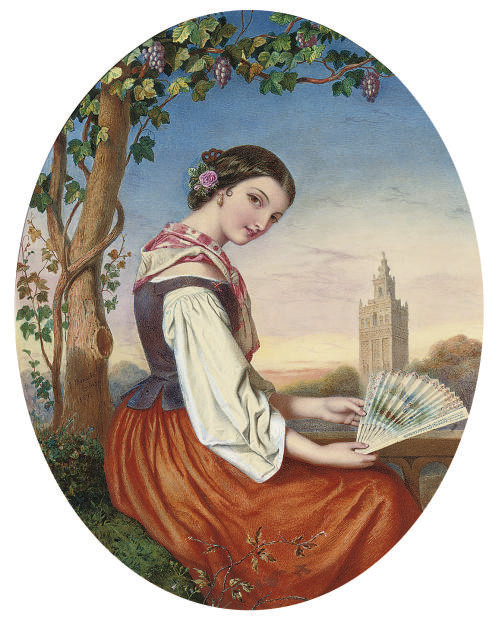 Portrait of a girl with a fan in her hand, a tower beyond