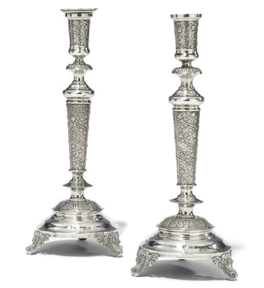 A PAIR OF RUSSO-POLISH CANDLES