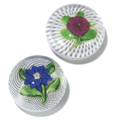 TWO FRENCH FLOWER WEIGHTS