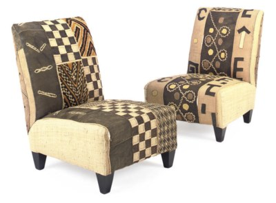 A PAIR OF AFRICAN TEXTILE COVE