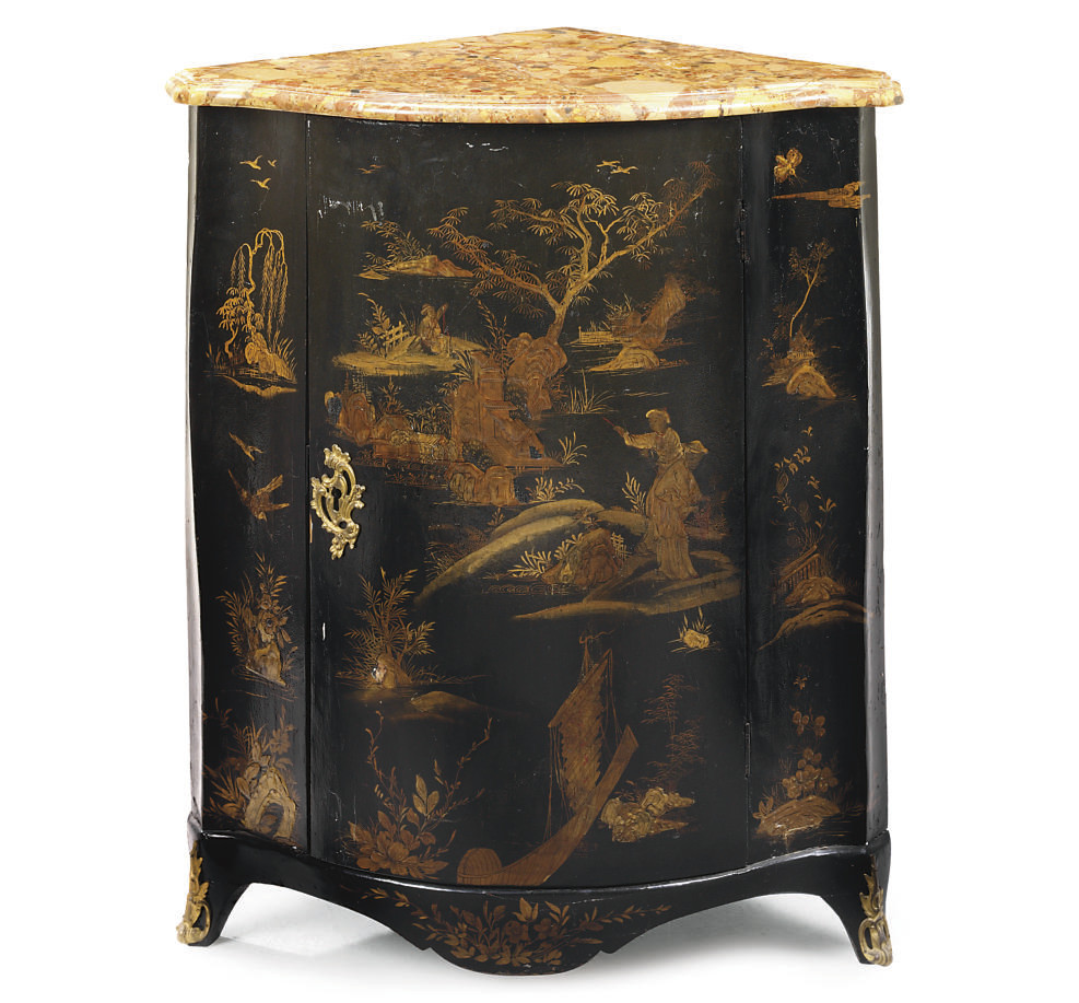 A LOUIS XV BLACK AND GILT VERN