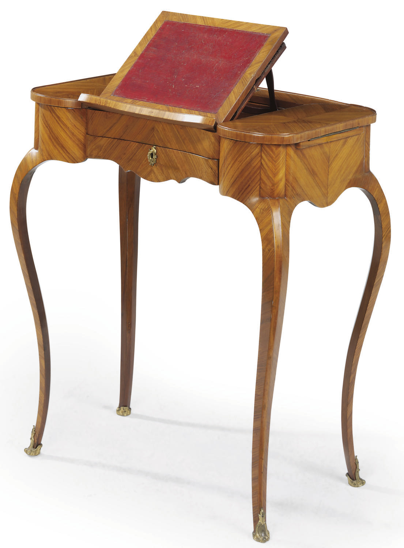 A LATE LOUIS XV TULIPWOOD TABL