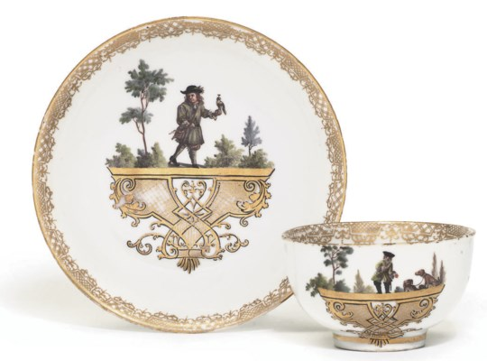 A MEISSEN TEABOWL AND SAUCER F
