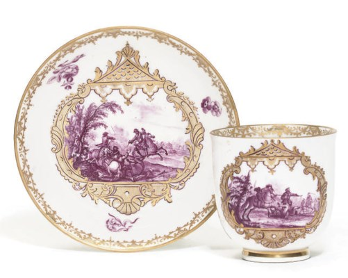 A MEISSEN COFFEE-CUP AND SAUCE