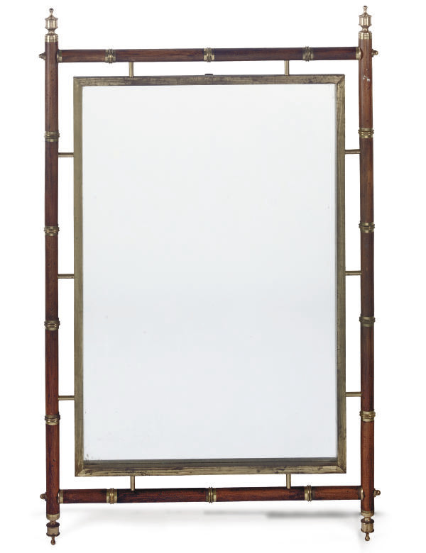 A BRASS-MOUNTED BEECH MIRROR