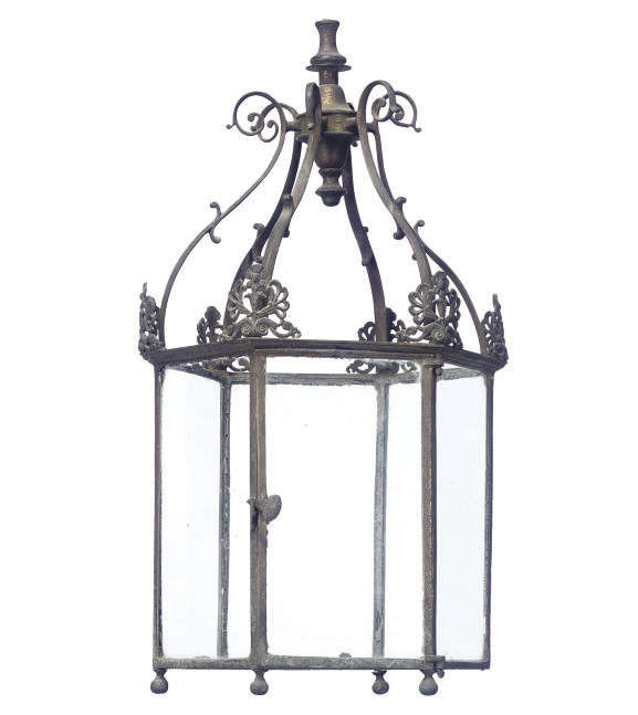 A REGENCY GILT BRASS HALL LANT