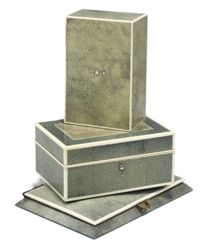 TWO ART DECO SHAGREEN AND IVOR