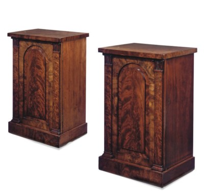 A PAIR OF FIGURED MAHOGANY PED