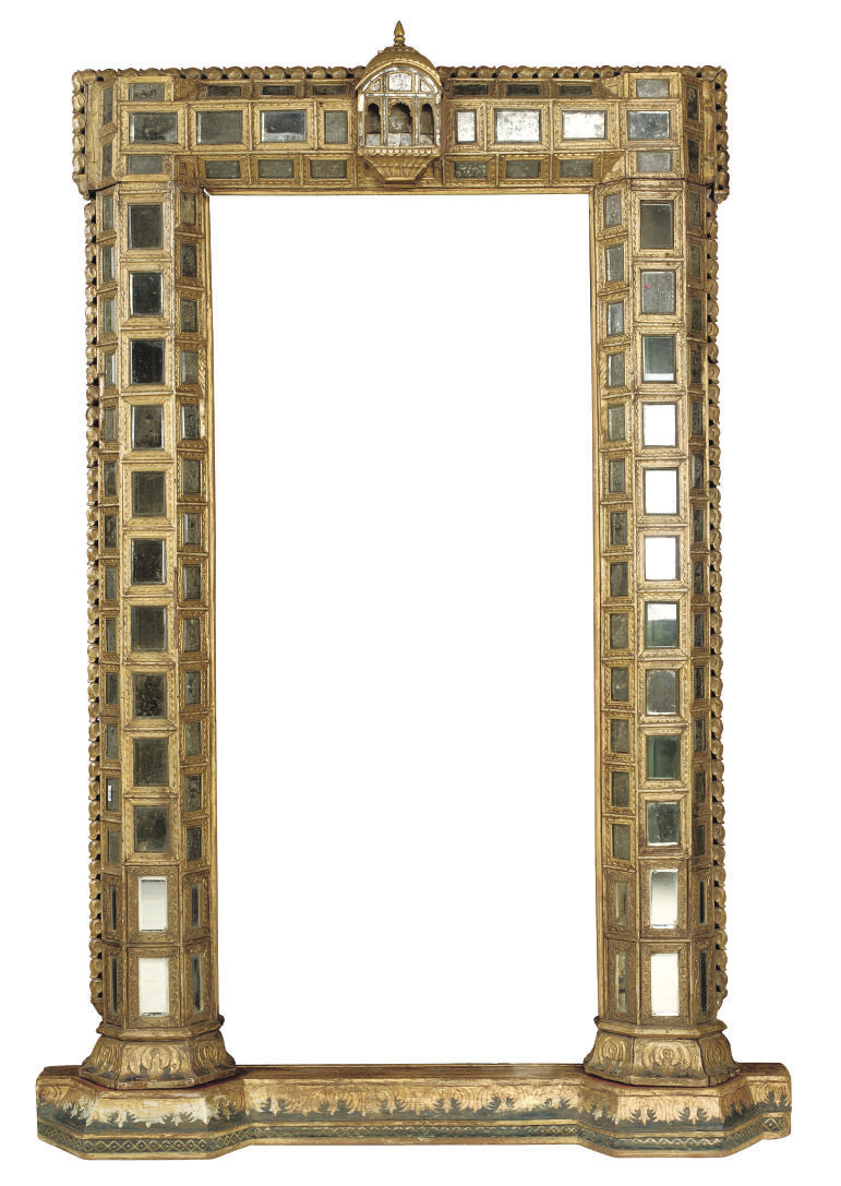 AN INDIAN GILTWOOD, MIRRORED G