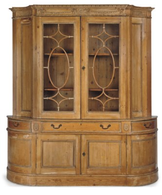 A LARGE PINE DISPLAY CABINET