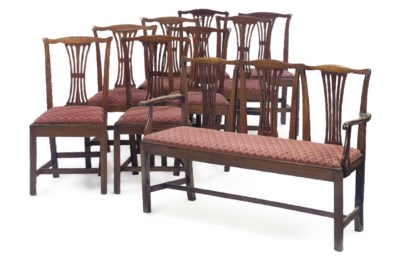 A SET OF EIGHT ELM DINING CHAI