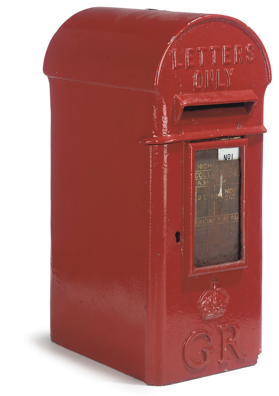 A RED-PAINTED CAST-IRON POST B