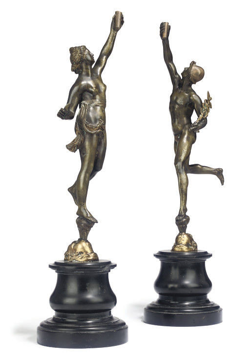 A PAIR OF BRONZE FIGURES OF ME