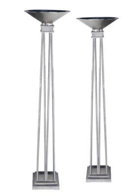 A PAIR OF POLISHED CHROME STAN