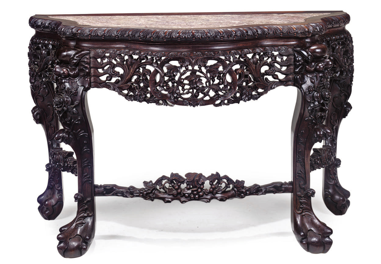 A CHINESE CARVED ROSEWOOD CONS