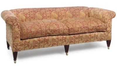 A GOLD AND RED BROCADE UPHOLST