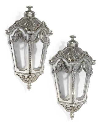 A PAIR OF LARGE SILVERED WOOD