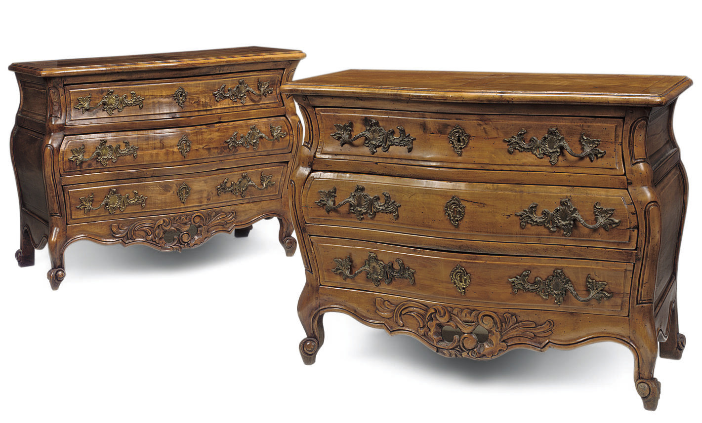 A PAIR OF FRENCH FRUITWOOD BOM