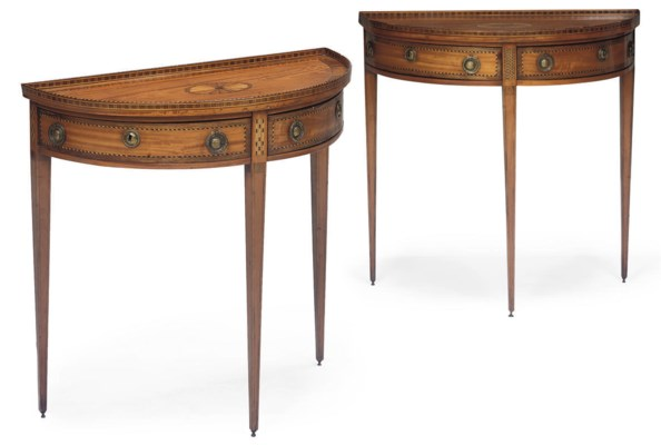 A NEAR PAIR OF DUTCH SATINWOOD