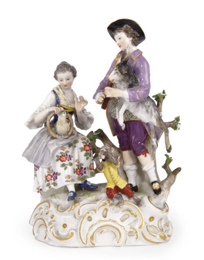 A MEISSEN GROUP OF A GALLANT A