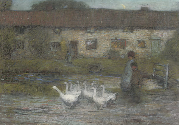 Children and geese beside a stream; and A kiss goodnight