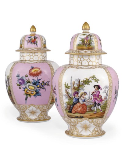 A PAIR OF DRESDEN VASES AND CO